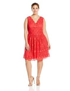 Adrianna Papell Women's Plus-Size V-Neck Sleeveless Fit and Flare Dress, Coral