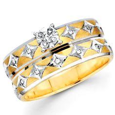 14K Diamond Shape Round Diamond Wedding Ring Set