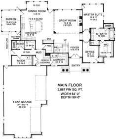 This craftsman design floor plan is 4739 sq ft and has 3 bedrooms and has bathrooms. Open Concept Floor Plans, Family House Plans, Craftsman Style House Plans, Block Island, Cabin Plans, Home Design Plans, House Layouts, Cool House Designs, Second Floor