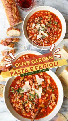 Olive Garden Pasta, Olive Garden Soups, Crockpot Recipes, Copycat Recipes, Slow Cooker Recipes, Soup Recipes, Pasta E Fagioli, How To Dry Oregano, How To Dry Basil
