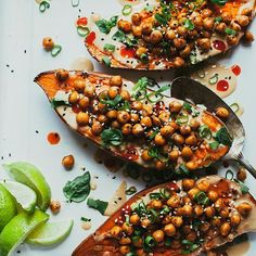 These stuffed sweet potatoes with ginger lime tahini sauce are on the blog! Ready in 25 minutes! From @minimalistbaker's brand new book