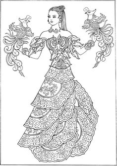 dover publications creative haven ornamental fashions coloring book_sample - Fashion Coloring Pages 2