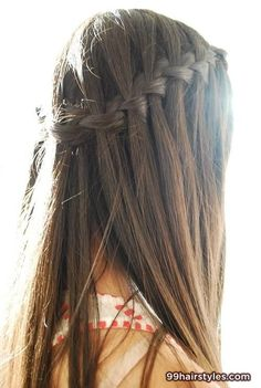 cool long brunette hairstyle waterfall braids - 99 Hairstyles Ideas