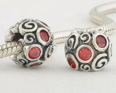 """925 Sterling Silver """"Primrose Path with Ruby CZ Czech Crystal"""" Charms/beads for Pandora, Biagi, Chamilia, Troll and More Bracelet general gifts. $19.99. Color: antique silver and ruby CZ Crystal. Hole Size: 4.5mm. Quantity: 1pc. Materials: 925 Sterling Silver (Stamped) and CZ. Suitable for 3mm Cable Pandora and other European Charm Bracelets"""