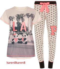 Pete and Polly Panda LA Pj Pajama Pyjama loungewear primark on sale now at my ebay karen8karen8 store