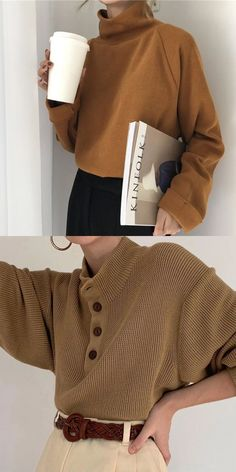 Casual High Collor Pure Sweater Fashion Trends For Women S Top Loose And Sexy Style Makes You More Chic And Beautiful Multiple Colors And Sizes You Can Choose Suitable For All Seasons Click And Shop Now Winter Fall Sweater Fashion Women Mode Outfits, Fall Outfits, Casual Outfits, Fashion Outfits, Fashion Trends, Fashion 2018, Men Casual, Pullover Mode, Pullover Outfit