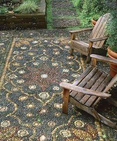 Pebble Mosaic Patio. Love.
