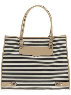 HANDBAGS Rebecca Minkoff Stripped Diamond Tote Cream/Black Canvas and other apparel, accessories and trends. Browse and shop related looks. Rebecca Minkoff Tote, Rebecca Minkoff Handbags, Designer Clothes Sale, Discount Designer Clothes, Next Purses, Striped Tote Bags, Designer Totes, Designer Purses, Black Canvas