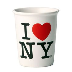 What's more iconic than the I Heart NY cup? Nothing! Milton Glaser's super chic 1975 design is printed here on a ceramic mug perfect for storing makeup brushes, glitter, confetti, pens, pencils, and oh yeah, your morning joe!  * The I LOVE NY ceramic cup, paper-like.  * 10 oz  * Folded edge mimics old paper cup style  * Rim/base design allow drinking hot liquids without a handle  * Certified lead cadmium free (California Standards)  * Microwave and dishwasher safe  * Color: Red…