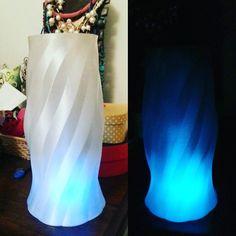 Other vase/lamp 3d printed. Stylish!! Nuova versione di vaso/lampada stampata 3d. Stilosa!! Designed by AF 3D Printing.  #3dprinting #3dprinted #plastic #pet #recicled #natural #ecofriendly #af_3dprinting #af_code #vase #trasparente #lamp #led #blu #blue #fluo #style #stylish #interior #industrialdesign by af_code