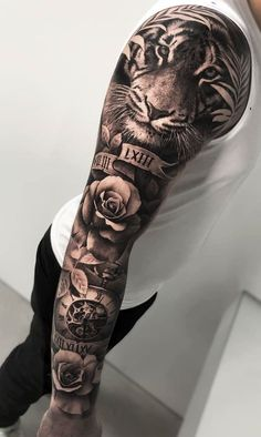 Tattoo Chest And Sleeve, Half Sleeve Tattoos Forearm, Animal Sleeve Tattoo, Lion Tattoo Sleeves, Nature Tattoo Sleeve, Half Sleeve Tattoos For Guys, Cool Chest Tattoos, Chest Tattoos For Women, Chest Piece Tattoos