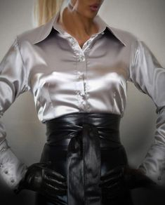 This shiny silver satin blouse is for sale to one of my blouseslaves ! Pencil Skirt Outfits, Pencil Skirt Black, Pencil Skirts, Office Skirt Outfit, Office Outfits, Long Leather Skirt, Satin Underwear, Satin Bluse, Belle Silhouette