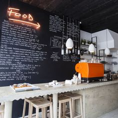 Rawduck 01 / Hackney, London. photo © We heart Co via Kaper Design  Love the bar and mustard espresso machine,