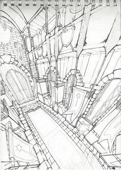 Ideas for art sketchbook backgrounds illustrations Drawing Interior, Interior Design Sketches, Background Drawing, Animation Background, Drawing Sketches, Art Drawings, Comic Layout, Perspective Drawing, Environment Concept Art