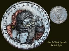 "Hobo Nickel ""Happy SANTA""1902 Morgan Dollar  Gold & Copper inlay by Panja Pojiew"
