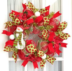 Deco Mesh Christmas Wreath w Snowman Slim Red Lime Green Holiday Wreaths Snowman Decor Screen Door Wreath by SouthernCharmWreaths $59.00 USD