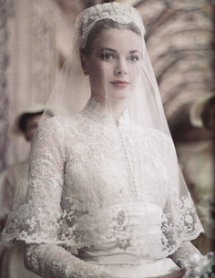 Possibly the most beautiful bride the world has ever seen. Grace Kelly, April 19, 1956. Famous for her glamorous style. Wear your hair up in a basic wrap, add a very delicate veil to it and finish the look with a subtle tiara.