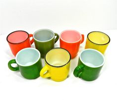 vintage mid century fire king mugs 7 mugs green by 3SisterzJewelry, $20.00