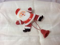 Whimsical Vintage Christmas Santa Pin, With Movable Arms And Legs, Hard Plastic  | eBay