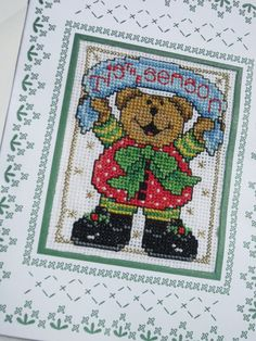 Teddy Bear Cross Stich Christmas Card