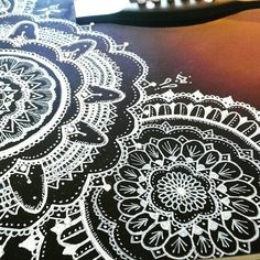 Close up shot of some of the detail work ☺☺ #art #guitar #guitarart #mandalaart #whitemandala