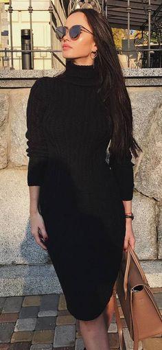 stylish look | black dress and brown bag