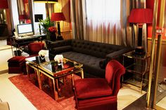 Travel | Trianon Rive Gauche Red Velvet Chair, Rive Gauche, Dark Brown Color, Paris Hotels, Common Area, Lifestyle Blog, Couch, Luxury, Room