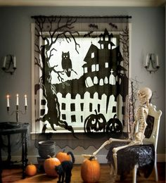 Spooky Hollow Patio Slider Panel, Heritage Lace - Artifacteria - Decorating With Lace Outlet