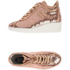 Ruco Line Sneakers ($243) ❤ liked on Polyvore featuring shoes, sneakers, copper, wedge heel sneakers, round cap, rubber sole shoes, leather trainers and leather sneakers