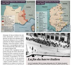 1940-1944 : France occupied by the Italians, map created by Hugues Piolet for Historia Magazine.