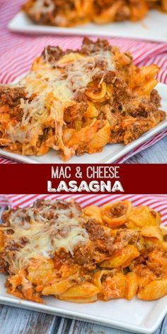 Mac and Cheese Lasagna: creamy layers of shells & cheese are interspersed with a savory mixture of ground beef, sauteed onions, minced garlic, and a blend of Italian cheeses. Casserole Recipes, Pasta Recipes, Cooking Recipes, Oven Recipes, Vegetarian Cooking, Elbow Macaroni Recipes, Chicken Recipes, Cooking Kale, Lasagna Recipes