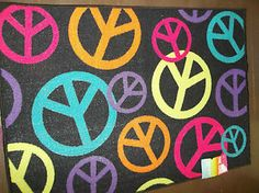 Rug S Room 30 X 47 Cool Decor Bright Peace Signs Multi Colors