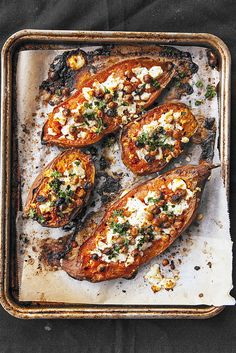 Healthy Baked Sweet Potato Recipe with Goat Cheese and Chickpeas