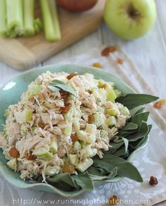 Again, gourmet but easy! Perfect for your next luncheon! Honey Chicken Salad with Apples and Sage. #recipe #chicken #salad