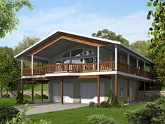 012G-0125: Carriage House Plan with Covered Deck