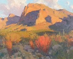 Bill Cramer . Desert Fire . Oil, 24 x 30