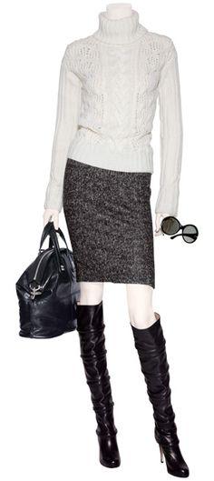 Anthracite Herringbone Wool SkirtBLUMARINE