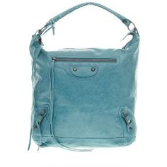 Pre-owned Balenciaga Shoulder Bag ($650) ❤ liked on Polyvore featuring bags, handbags, shoulder bags, apparel & accessories, wallets & cases, leather handbags, leather man bag, handbags shoulder bags, leather purse and blue leather handbags