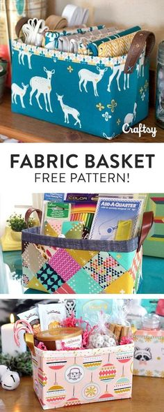 Contain the household clutter with this free fabric basket sewing pattern.