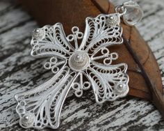 925 Sterling Silver Filigree Cross Pendant Goth by DewiJewelry