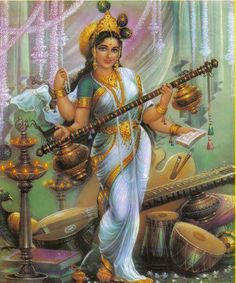 The Goddess Saraswathi with many musical instruments