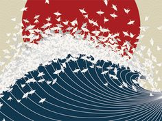 """Source: Project Senbazuru by Jessica Moon. Several well-known Japanese symbols are represented: the red sun, the paper cranes, and the wave, which could either be from Hokusai's """"The Great Wave off Kanagawa"""" or the tsunami. The cranes are symbol of hope, and thereby the tsunami, though a destructive force, is redeemed and transformed, or rebuffed by the thousand cranes (""""senbazuru"""") as it crashes against the red sun."""