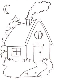 Disegni per bambini piccoli da colorare - La casetta Spring Coloring Pages, Coloring For Kids, Colouring Pages, Coloring Books, House Quilt Patterns, House Quilts, Painting For Kids, Art For Kids, House Drawing For Kids