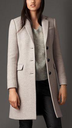 Pearl grey Virgin Wool Cashmere Herringbone Chesterfield - Image 1