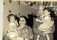 Shri Mataji & Sir CP with their daughters Kalpana & Sadhana.