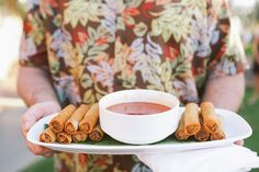 Taquito h'ordeuvres. LVL Weddings & Events // Photography: Brandon Kidd Photography // Pineapples favors: Letter Craft // Venue: Westin Maui Resort & Spa // Entertainment: Scott Baird //Linens: La Tavola