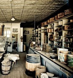 historical picture of a mercantile. I like the glass windows in the back. I also think the ceiling tiles are and interesting idea.