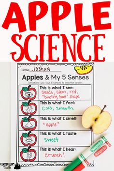 Apples and Johnny Appleseed activities for Pre-K and Kindergarten. Five senses and apples science activity.
