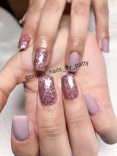 glitter pink matte gel nails