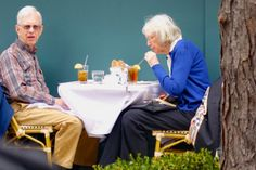 Two older people at lunch